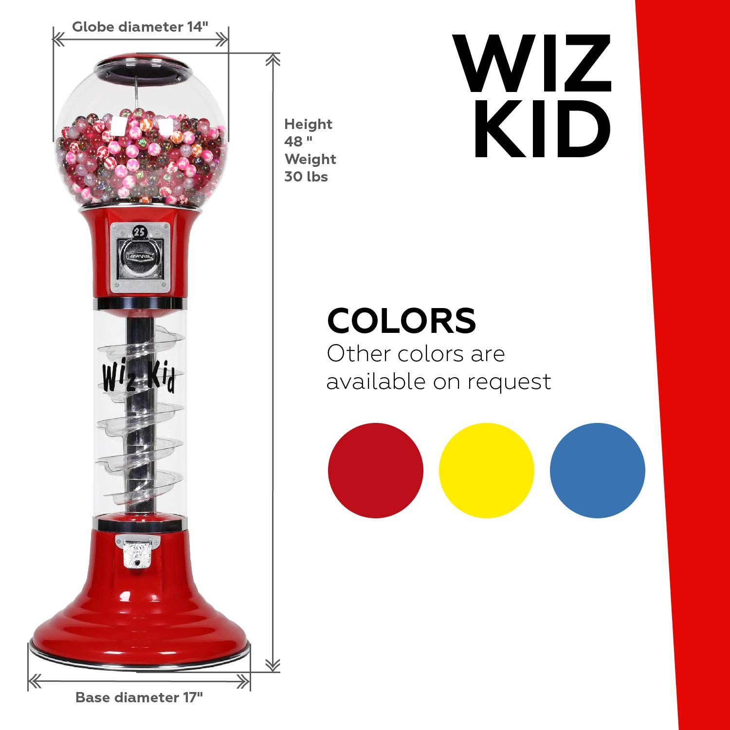 Wiz-Kid Wizard Spiral Gumball Vending Machine Height 4' - $0.25 - (Blue) by Global Gumball (Image #2)