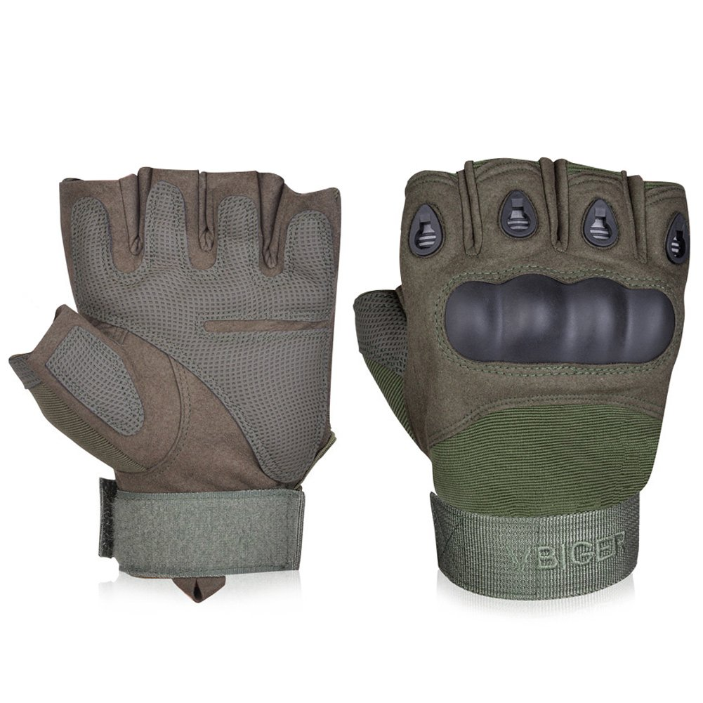 Military Tactical Half Finger Leather Motorcycle Gloves - DeluxeAdultCostumes.com