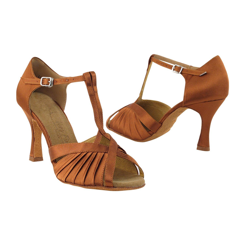 Very Fine Dance Shoes SERA2707 Dark Tan Satin, 2.5'' Heel, Size 8 1/2