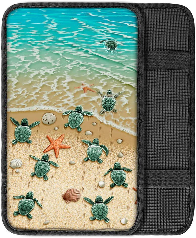 BIGCARJOB Baja Style Center Console Armrest Cushion Cover Pad Soft Surface,Elephant Print Auto Car Interior Accessories Universal