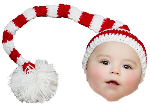 a8c7ee9cc9cbc Elf Hat for Baby Striped Red White with Pom Pom Crochet Boys Girls Christmas  Holiday Santa