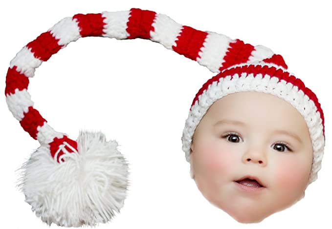 a998aff04 Elf Hat for Baby Christmas Holiday Striped Red White with Pom Pom Boys  Girls Crochet Newborn 0-3 Month Size