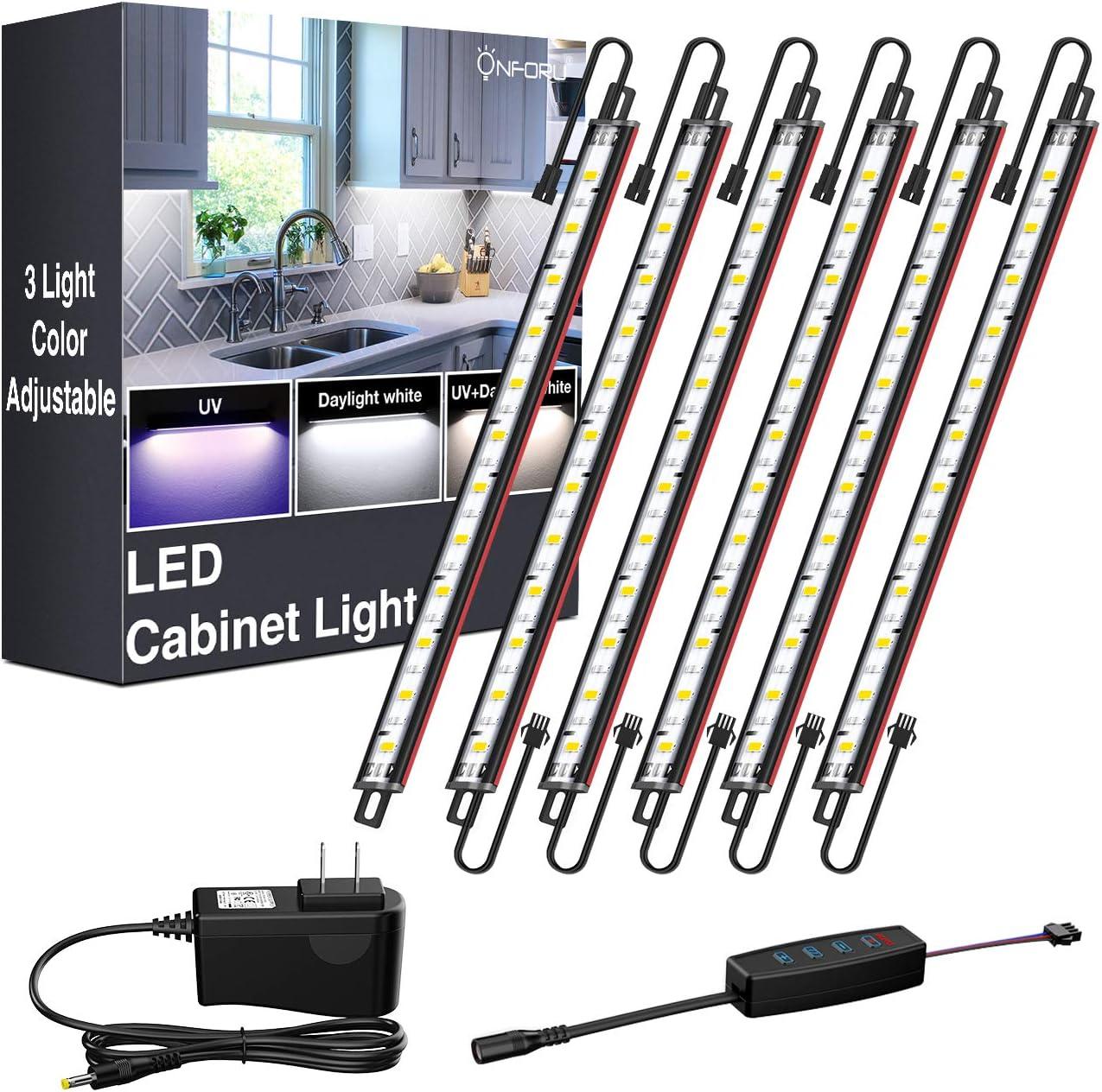 Onforu LED Under Cabinet Lights Kit, 3 Colors Adjustable, 1080LM Dimmable Puck Lights, Cool White, UV Black Light Under Counter Light, 12V Blacklight Closet Lighting for Kitchen, Showcase, 6 PCS