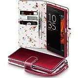 Sony Xperia XZ / XZs Cover, Terrapin Handy Leder Brieftasche Case Hülle mit Kartenfächer für Sony Xperia XZ / XZs Hülle Rot mit Blumen Interior