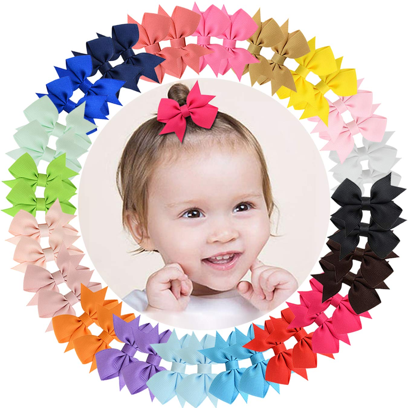 40 Pcs 3 inch Grosgrain Ribbon Baby Hair Bows Alligator Clips Hair Accessories