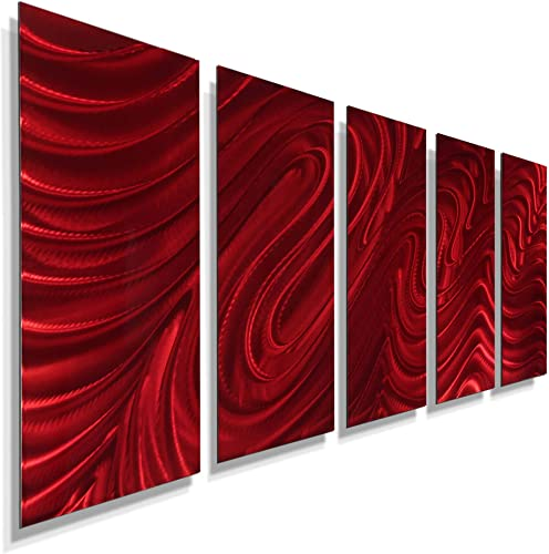 Statements2000 Large Abstract Metal Wall Art Sculpture Panels by Jon Allen, Red, 64 x 24 – Red Hypnotic Sands