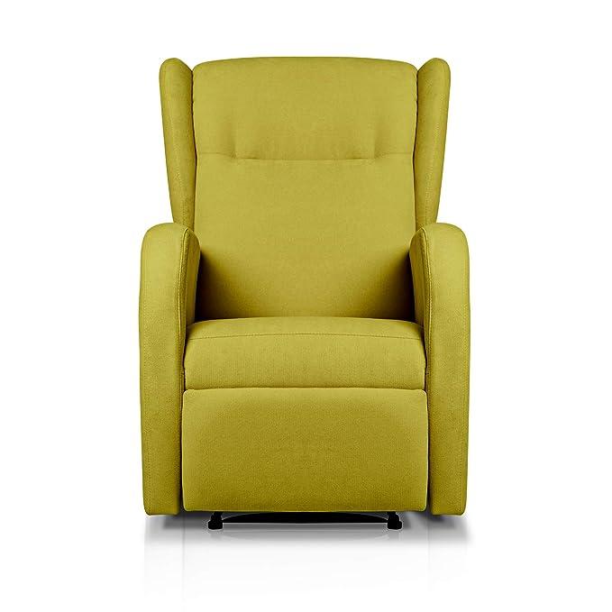Sueños ZZZ | Sillon relax reclinable HOME tapizado tela antimanchas verde pistacho | Sillon reclinable butaca relax | Sillon orejero individual salon ...