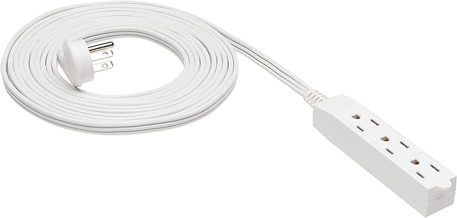 Amazonbasics Flat Plug Grounded Indoor Extension Cord With 3 Outlets White 15 Foot