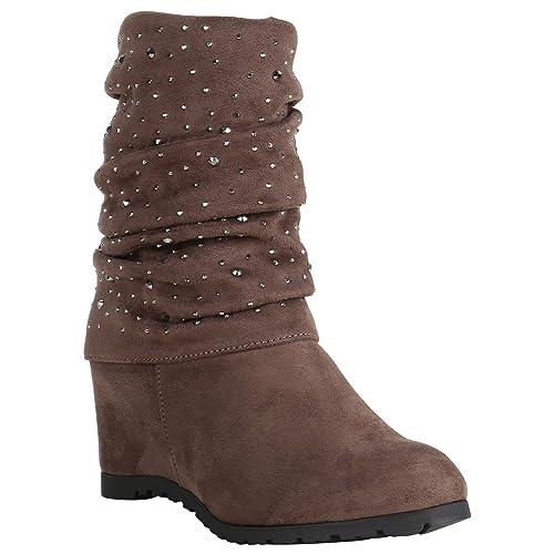 Stiefelparadies Damen Keilstiefeletten gefüttert Flandell  Amazon.de  Schuhe    Handtaschen 81e673bb07