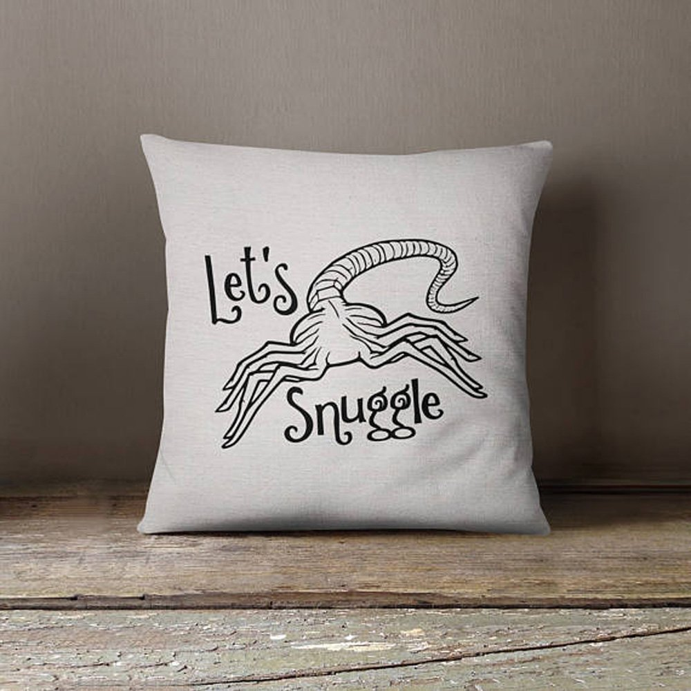 High quality Aliens movie Facehugger Let's Snuggle pillow covr - 16x16inch pillow cover - movie quotes - washable pillow - home textiles - fiber arts