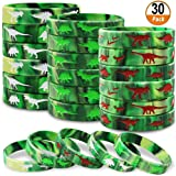 Dinosaurs Silicone Wristbands 30 Pack Dinosaurs World Jurassic Party Supplies for Dinosaurs Theme Party Birthday Party Favors Gifts Bags Stuffers - 3 Colors