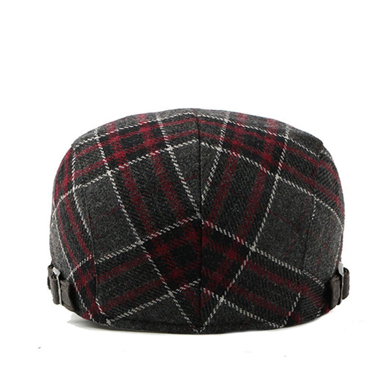 eud-UW Spring Autumn Womens Mens Beret Cap Wool Grid Beret Hats for Men Women Flat Caps