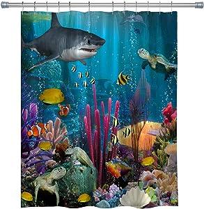 summer007 Ocean Decor Shower Curtain, Underwater Sea World Scene with Goldfish Starfish Jellyfish Depth Diving Concept, Bathroom Accessories with Hooks, 71X 71 in