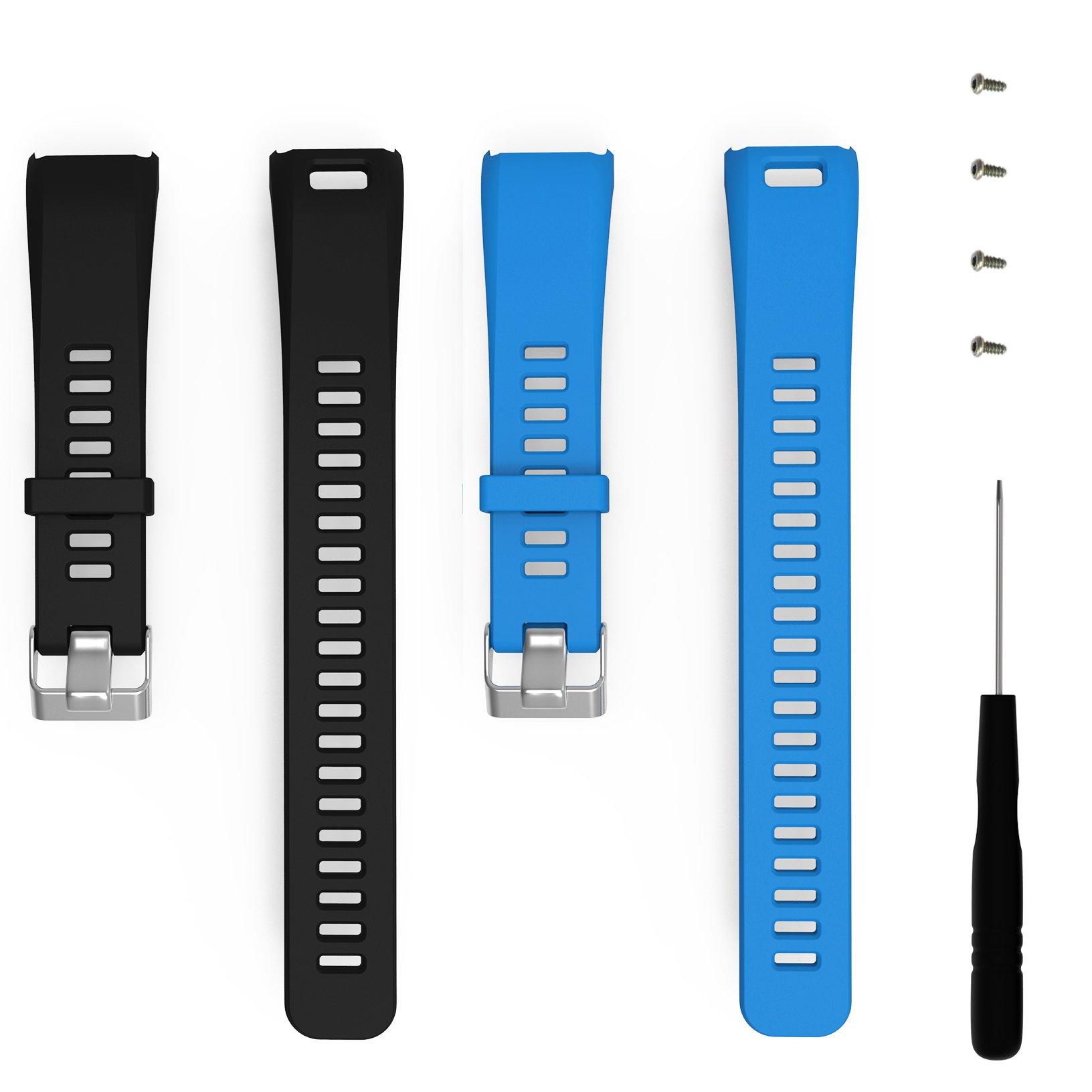 ECSEM Replacement Soft Silicone Bands and Straps for Garmin vivosmart HR (not for vivosmart hr +), Black/Blue