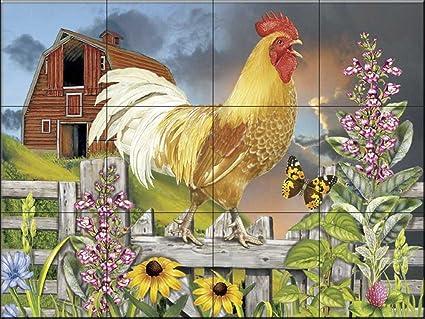 Murale di piastrelle di ceramica gallo giallo saluto il day by