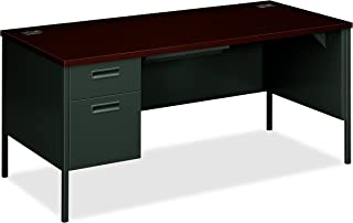 "product image for HON Metro Classic Laminate Office Desk - Left Pedestal Desk with File Drawer, 66"" W, Mahogany/Charcoal (HP3266L)"