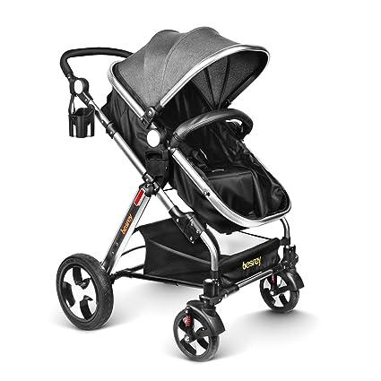 besrey Silla de Paseo Cochecito para Bebé Carrito Baby Jogger Carriage Gris Aprobado prueba de seguridad