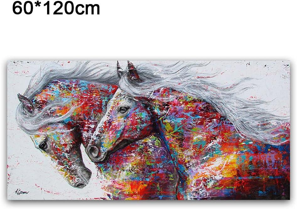 DAMIANOSL Póster Cabeza de Caballo de Color de inyección de Tinta, Pintura al óleo, Moderno, Mate, Grande, Colorido, Show, 60 * 120cm