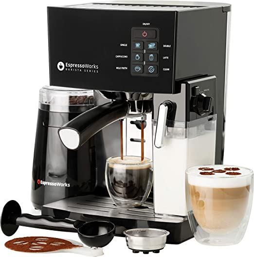 EspressoWorks 10 Pc All-In-One Barista Bundle Espresso Machine & Cappuccino Maker, 19 BAR Pump Set w/ Built in Milk Steam & Frother (Incl: Electric ...