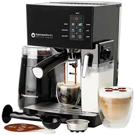 10 Pc All-In-One Barista Bundle Espresso Machine Cappuccino Maker, 19 BAR Pump Set w Built in Milk Steam Frother Incl Electric Coffee Bean Grinder, 2 Cappuccino 2 Espresso Cups, Spoon Tamper, Portafilter w Single Double Shot Filter Baskets, 16 Art Stencil Templates , Black Silver, Stainless Steel