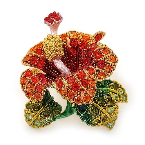 Rouge Orange Vert Cristal Autrichien Fleur Exotique Broche