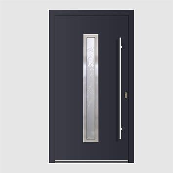 Haustür Welthaus WH94 RC2 Premiumtür Aluminium mit Kunststoff LA211 Tür  1000x2100mm DIN Rechts Farbe aussen anthrazit Innen weiß außengriff BGR1400  ...
