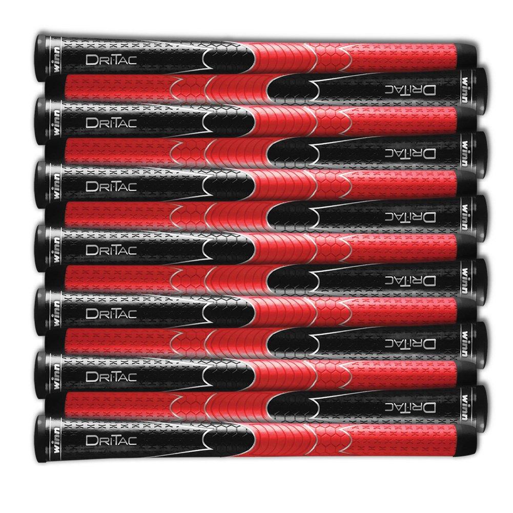 SET OF 9 WINN DRITAC AVS STANDARD BLACK / RED GOLF GRIP. 5DT-BRD by Winn (Image #1)