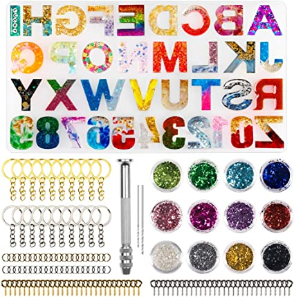 ASMFUOY 1 Pcs Crystal Epoxy Silicone Mold Alphabet DIY Handmade Jewelry Resin Number Pendant Model for DIY Resin Crayons Clay Soap Crafts