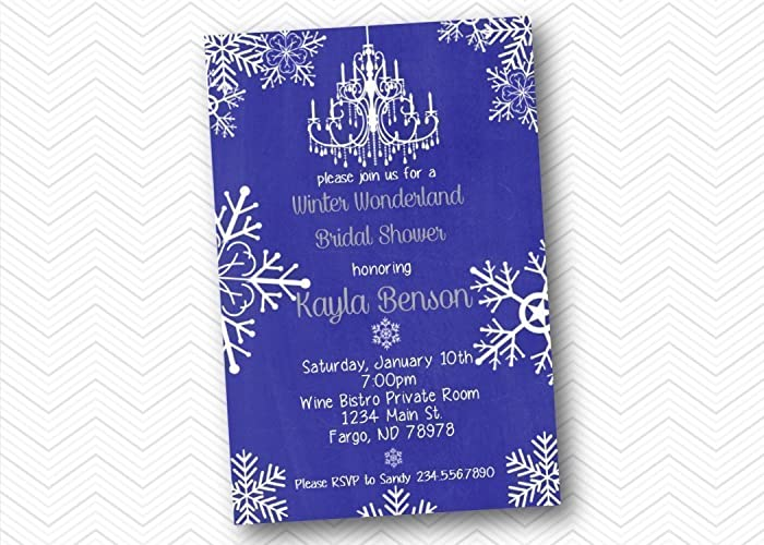 winter printed bridal shower invitations snowflake wedding shower chandelier
