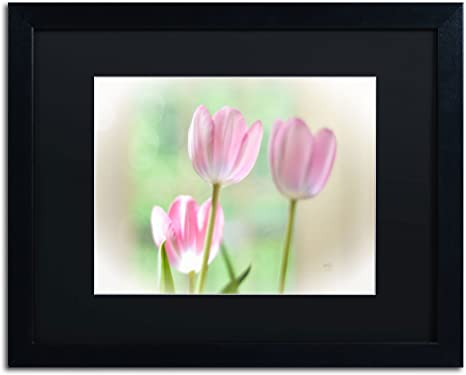 Amazon Com Three Pink Tulips Artwork By Lois Bryan 16 By 20 Black Frame Black Matte Posters Prints