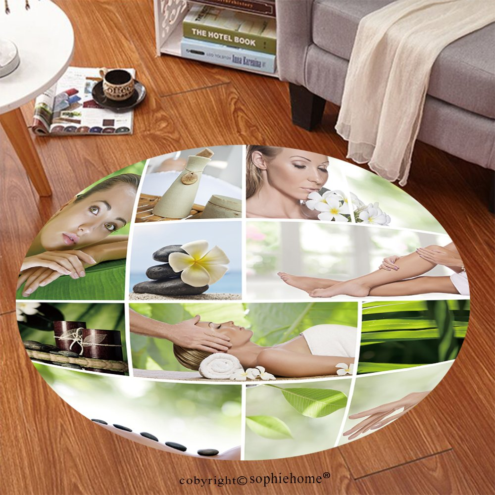 Sophiehome Soft Carpet 76751605 Spa theme photo collage composed of different images Anti-skid Carpet Round 24 inches