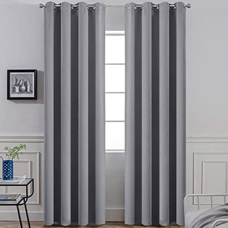 Amazon Com Yakamok 96 Inches Thermal Curtain Panels Gray Blackout Curtains Room Darkening Window Drapes With 8 Grommets Grey Set Of 2 2 Tie Backs Included Home Kitchen