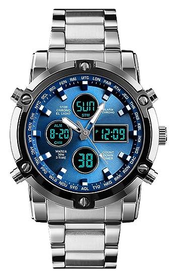 Reloj analógico Digital para Hombres - Reloj Deportivo Militar para Hombre con Alarma/Cuenta Regresiva/Cronómetro, Impermeable Relojes de Pulsera para ...