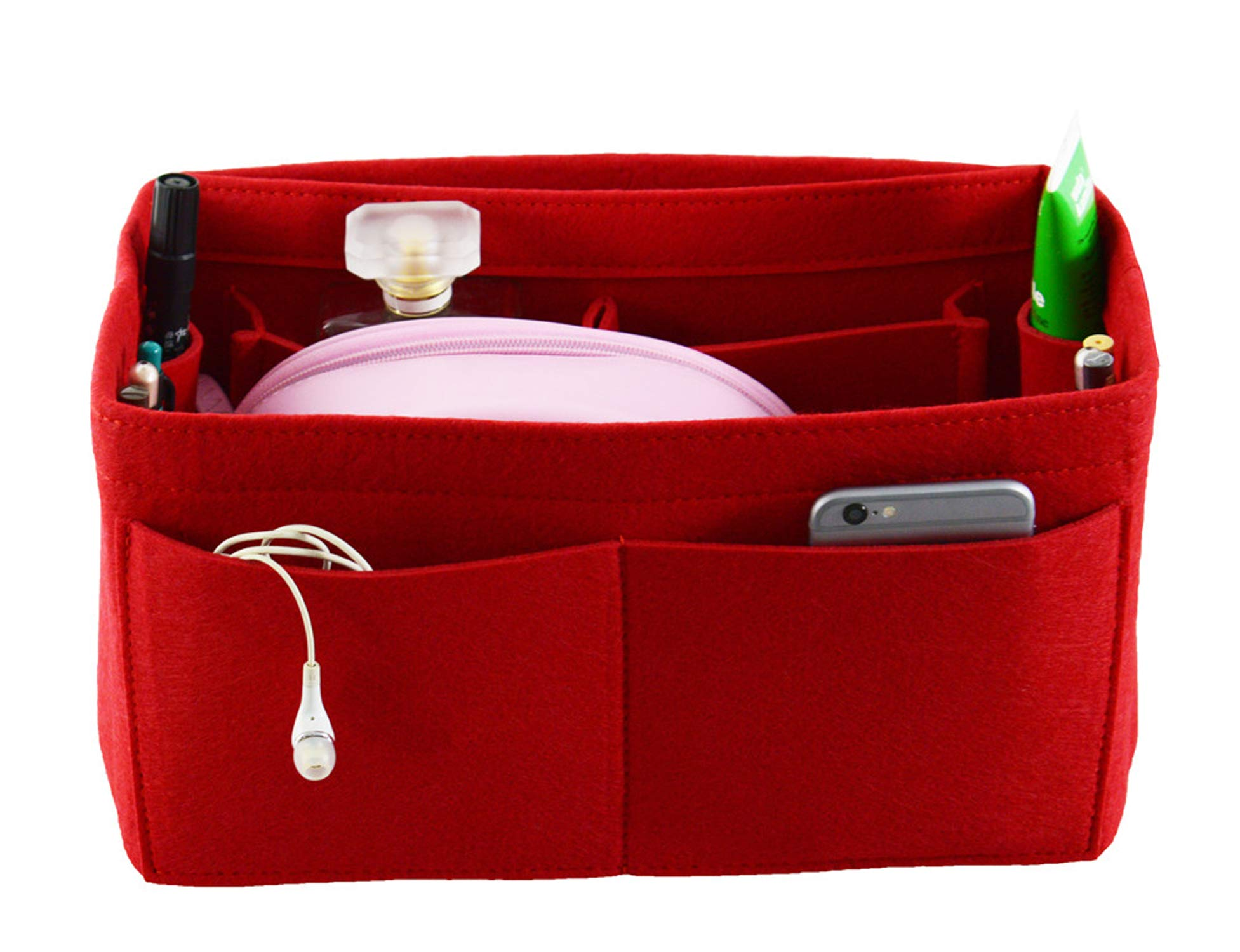 Large Felt Purse Organizer Bag, Fits Neverfull MM and Speedy 30, Red