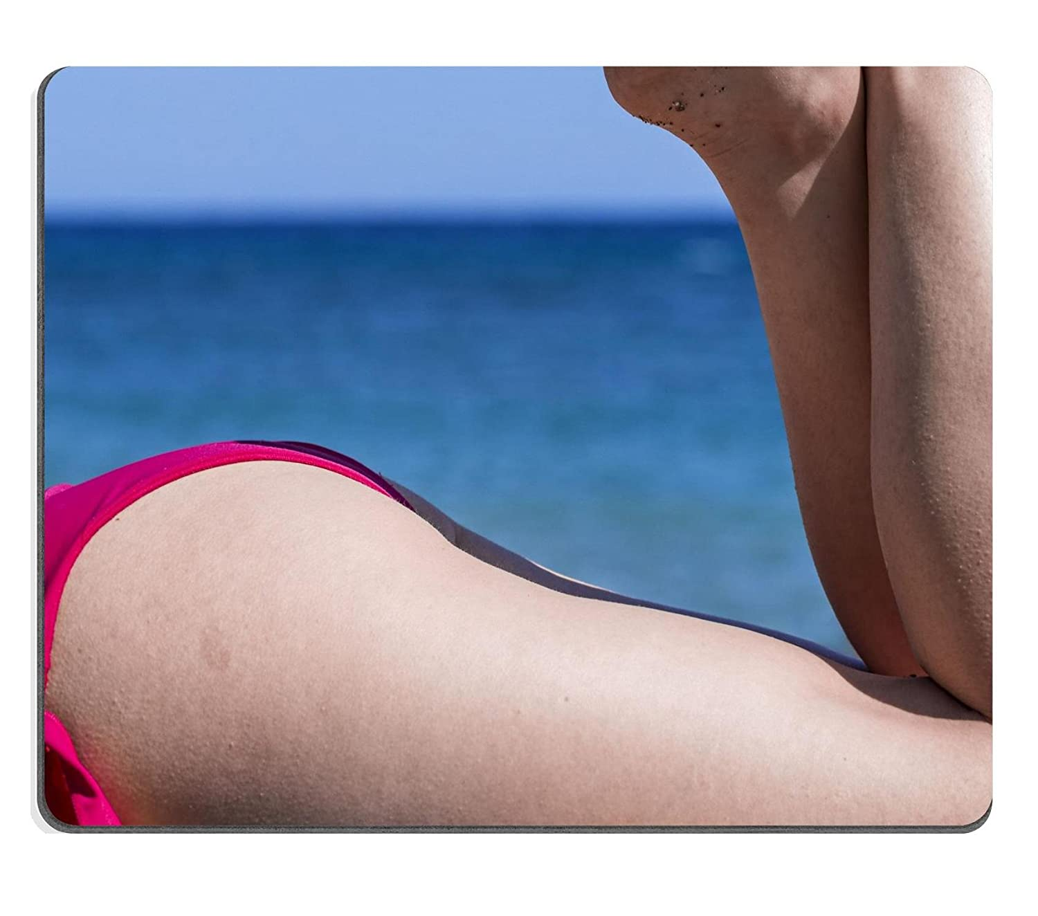 Luxlady Natural Rubber Mousepads IMAGE ID 20987980 Close up of a female ass  that wear a fuxia swimsuit: Amazon.co.uk: Electronics