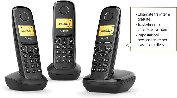 Gigaset A170 Trio Analog/DECT Telephone Negro Identificador de Llamadas: Amazon.es: Electrónica