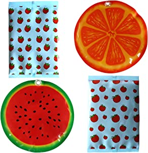 Ice Pack for Lunch Boxes - Reusable Round Cold Packs - Keeps Food Cold – Cool Print Bag Designs - Great for Kids or Adults Lunchbox and Cooler (Type1)