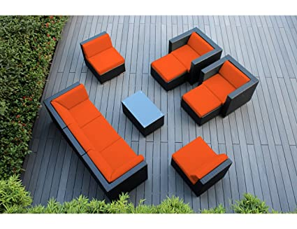 Ohana 10 Piece Outdoor Patio Furniture Sectional Conversation Set, Black  Wicker With Orange Cushions