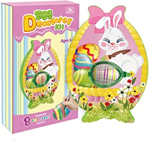 ORIENTAL CHERRY Easter Eggs Decorator Kit - Includes Bunny Egg Spinner Machine and 8 Coloring Markers - NO Dyes