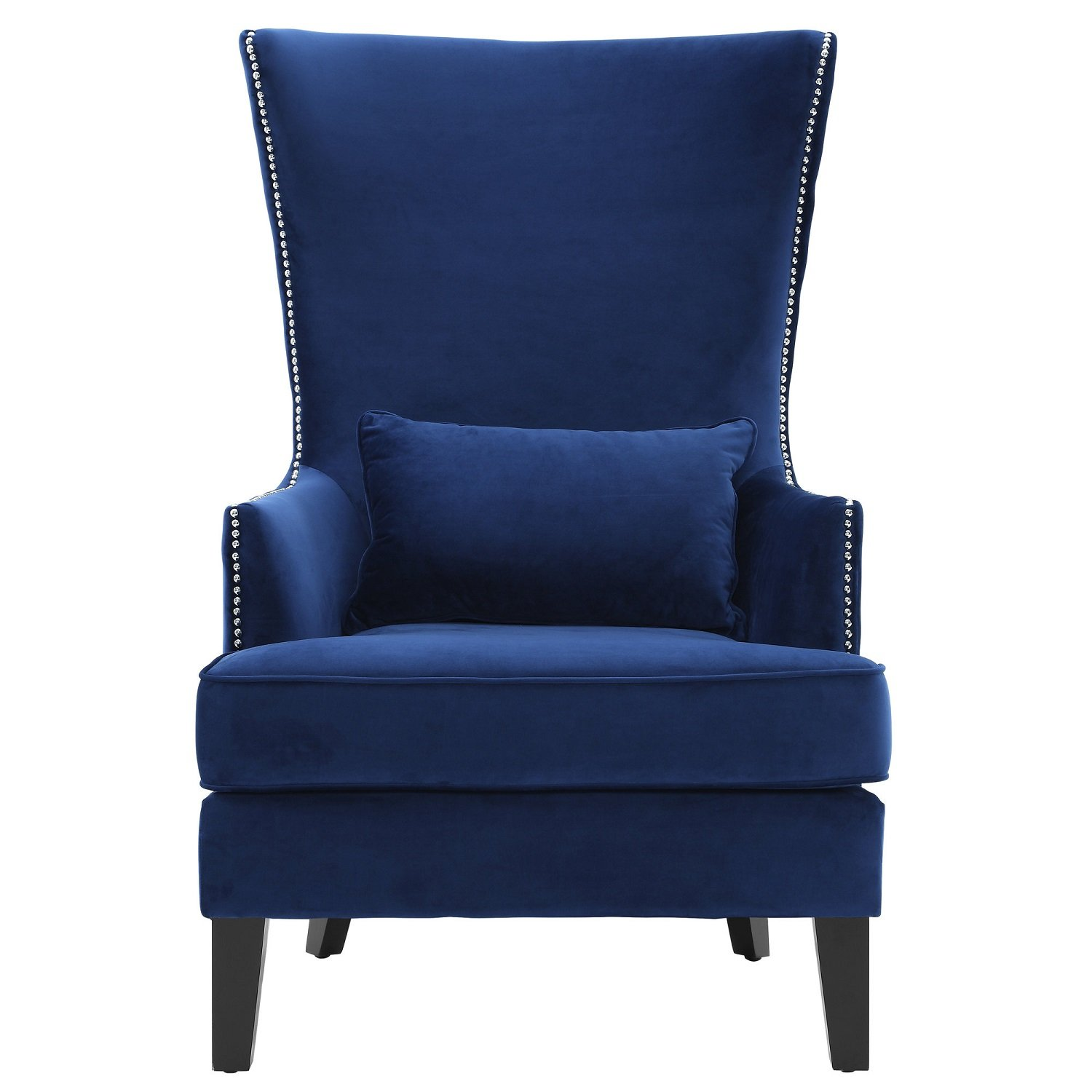 Magnificent Tov Furniture The Bristol Collection Contemporary Velvet Upholstered Tall Living Room Parlor Chair With Nailhead Trim Navy Gmtry Best Dining Table And Chair Ideas Images Gmtryco