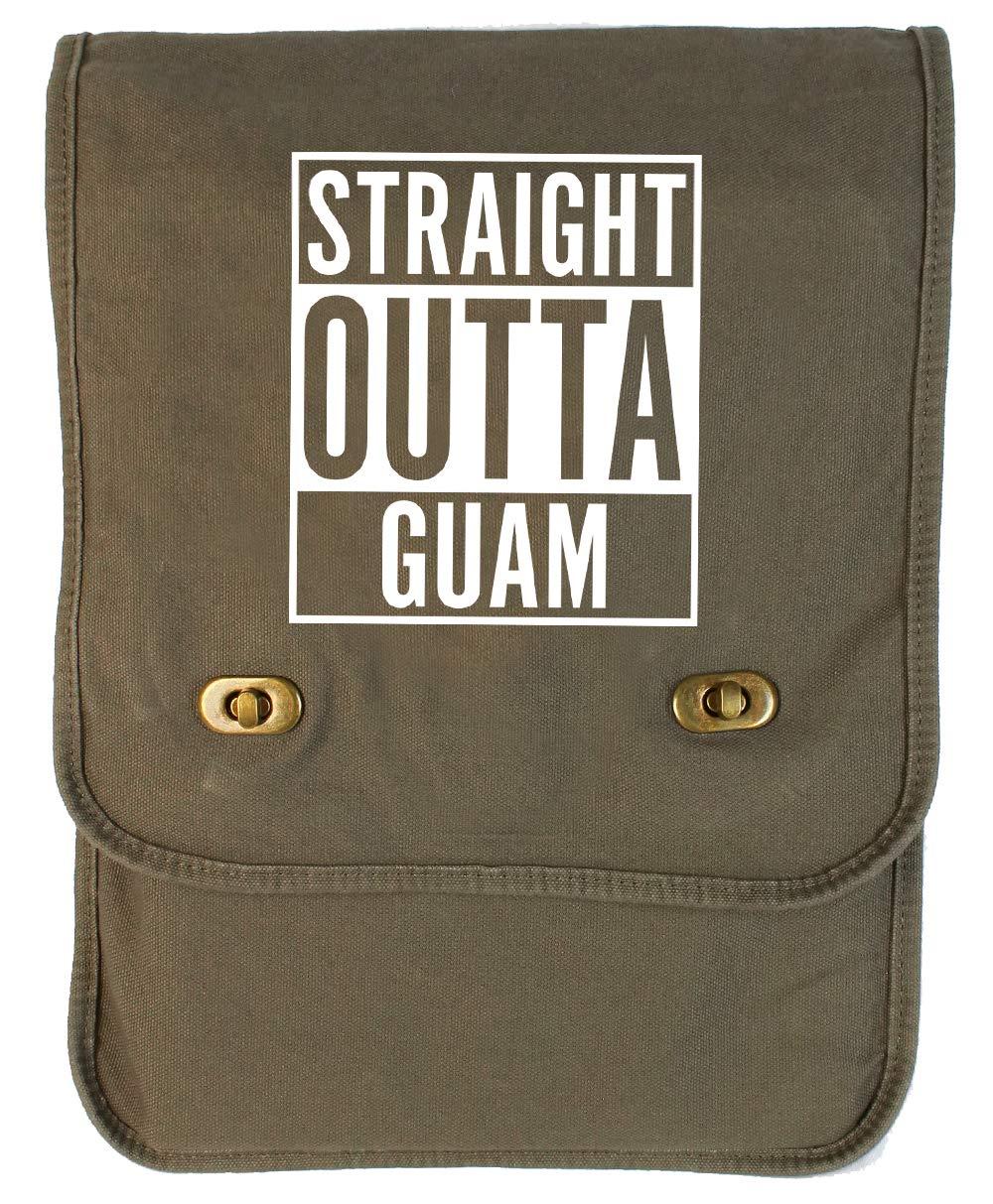 Tenacitee Straight Outta Guam Royal Blue Brushed Canvas Messenger Bag