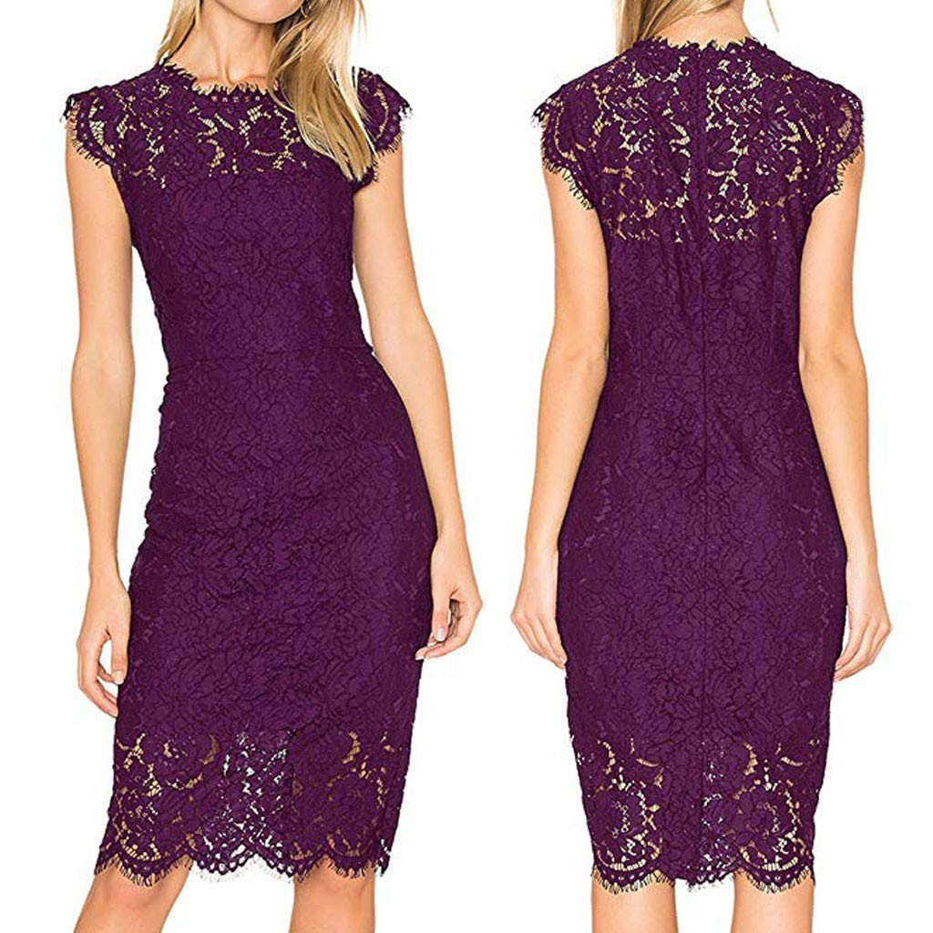 Womens Work Business Party Cocktail Dress Plus Size Sleeveless Lace Floral Elegant Knee Length Bodycon Dress