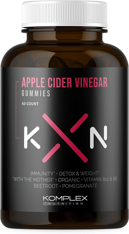 KompleX Nutrition Organic Apple Cider Vinegar Gummies, Improve Digestion, Detox, 1400mg ACV Powder with Mother, 60 Vegan and Gluten-Free Supplement Pills, Ginger Extract, Cayenne Pepper Powder