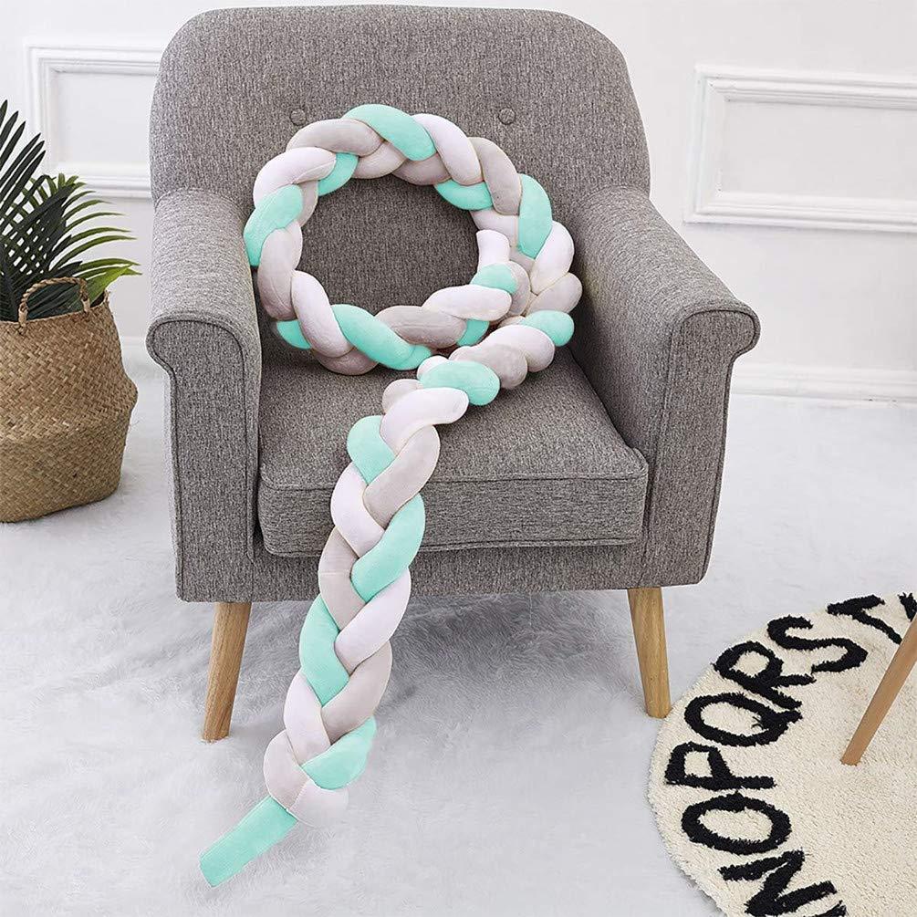 Baby Crib Bumper Cushion Plush Knot Pillow Babys Room Decoration DQMEN Braid Pillow White + Pink + Gray, 200cm//78inch