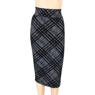 Alfani Plus Size Jacquard Straight Skirt (Plaid, 14W) at Women's Clothing store