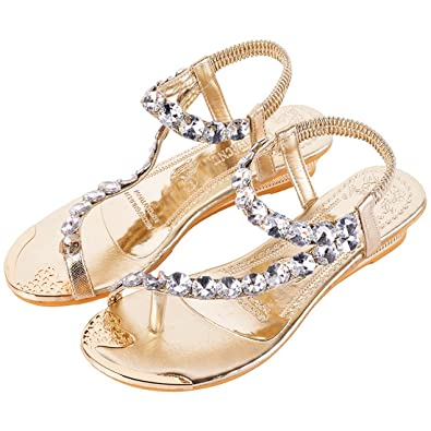 Dihope Women's Toe Ring Wedge Slingback Sandals With Crystal Ornament  (36/UK 3,
