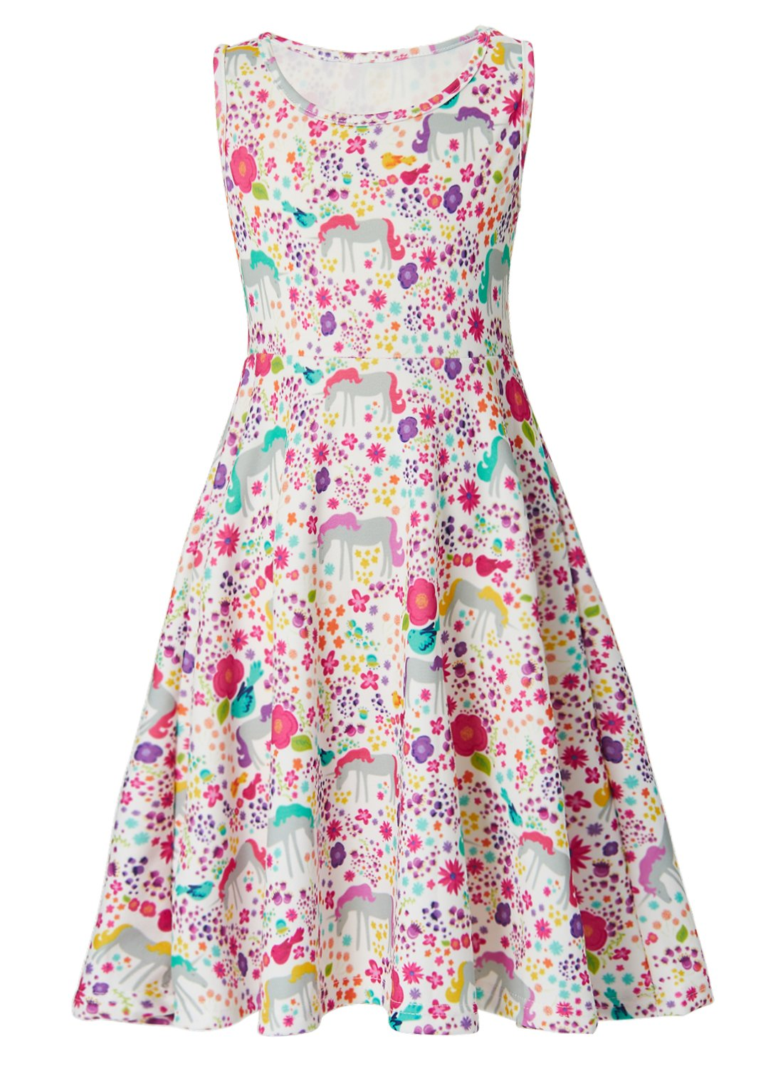 Leapparel Unicorn Pattern Novelty Costume Causal Dress for Little Kid Colorful Floral Beach Boho Dress Print Sleeveless Skirt for Girls 8-9 Year Old