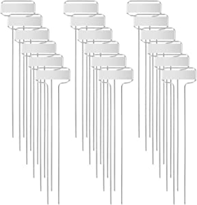 GROWNEER 48 Packs 10 x 2.6 Inches Metal Plant Labels T Type Plant Tags Plant Marker Garden Labels Nursery Tag for Flowers, Vegetables, Seedlings, Seed (Silver White)