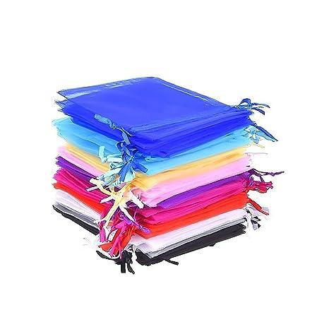 Bolsas de Organza de Regalo para Boda Favores y Joyas, 50 Piezas, 10 Colores, 4,7 x 3,6 Pulgadas
