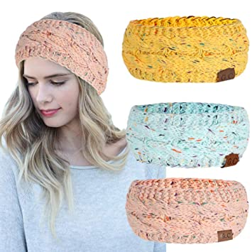 Women Headbands 3Pcs Knit Headband Twist Headband Crochet Winter Cable Ear  Warmer Confetti Blue Yellow Pink 0fa182249c08